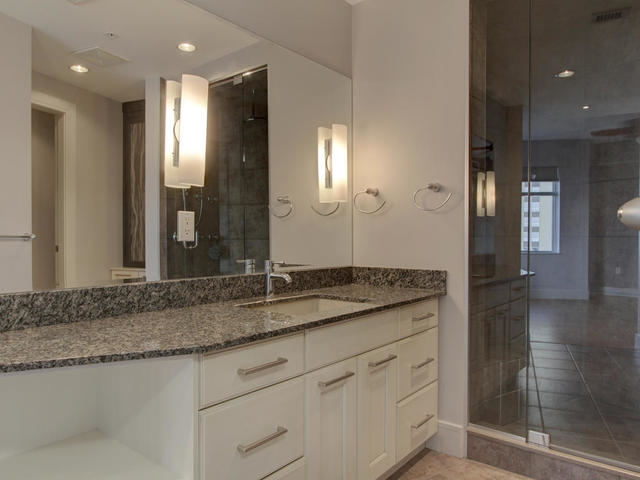 Granite counter and large shower.
