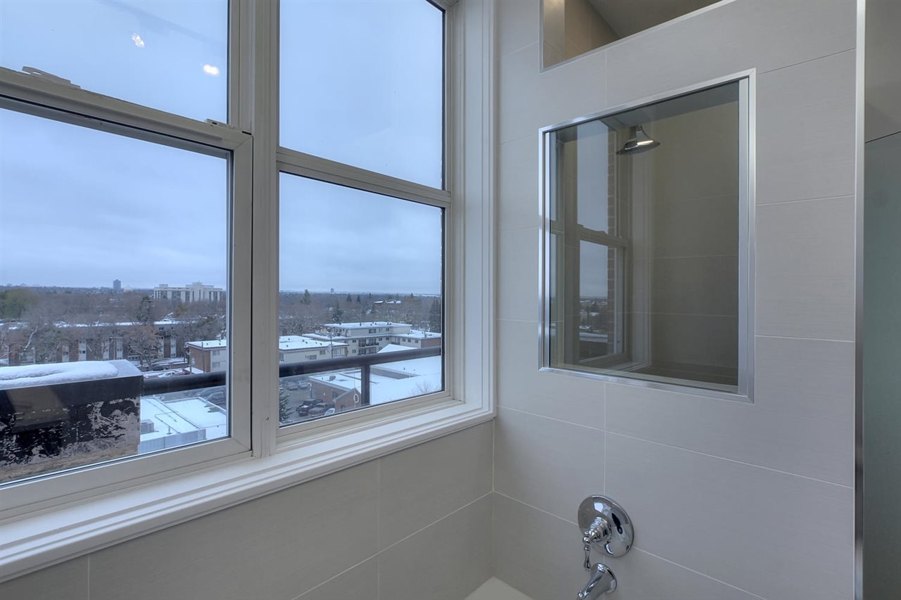 Notice the decorative glass insert to allow light to flow into the shower area.