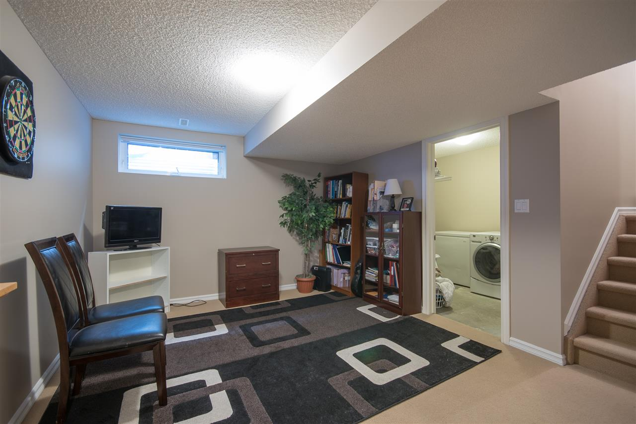 The basement family room is ideal for the kids!