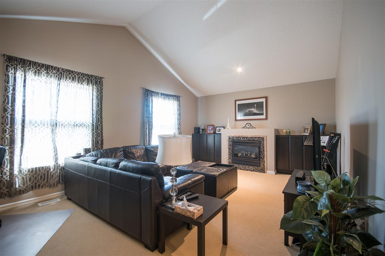 The large bonus room features gorgeous vaulted ceilings, and a mantled gas fireplace.