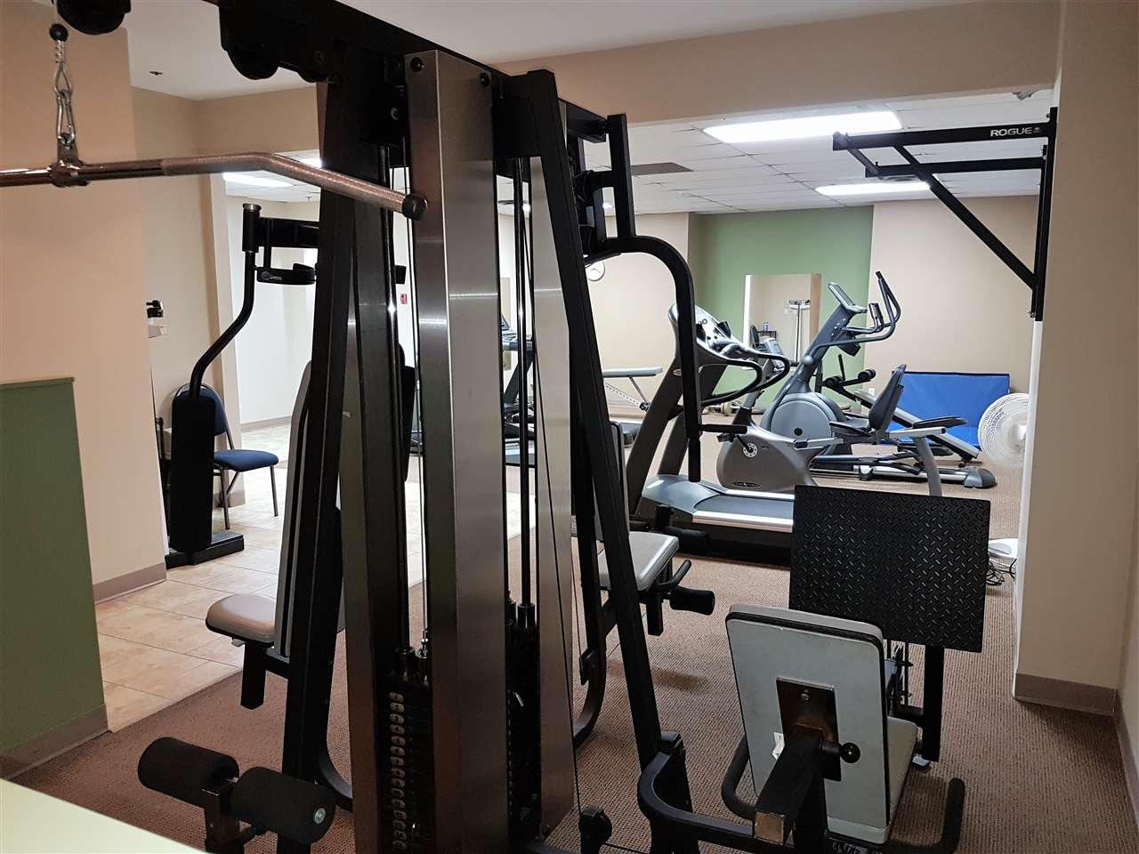 This is only one angle of this exercise room. New quality equipment, sauna and shower faculties for your use. Save on the cost of a gym membership!