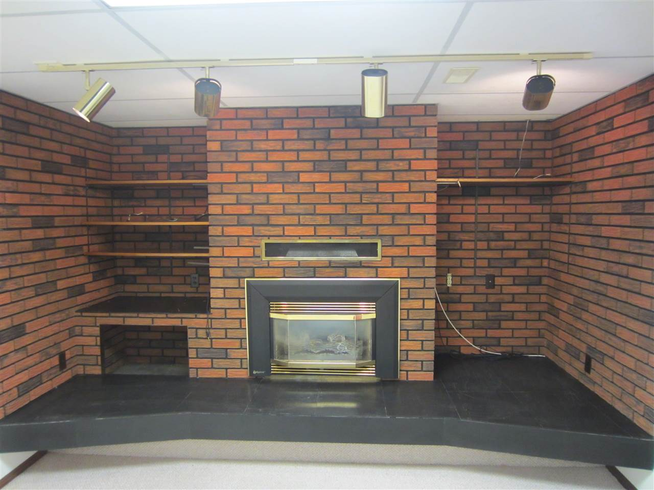 Gas fireplace in basement