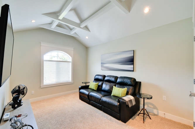 Vaulted ceilings, tons of light, currently TV room..