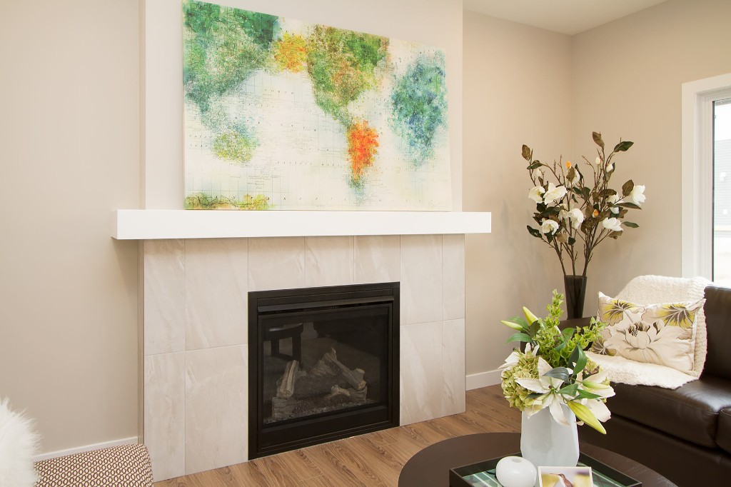 Natural gas fireplace in living room