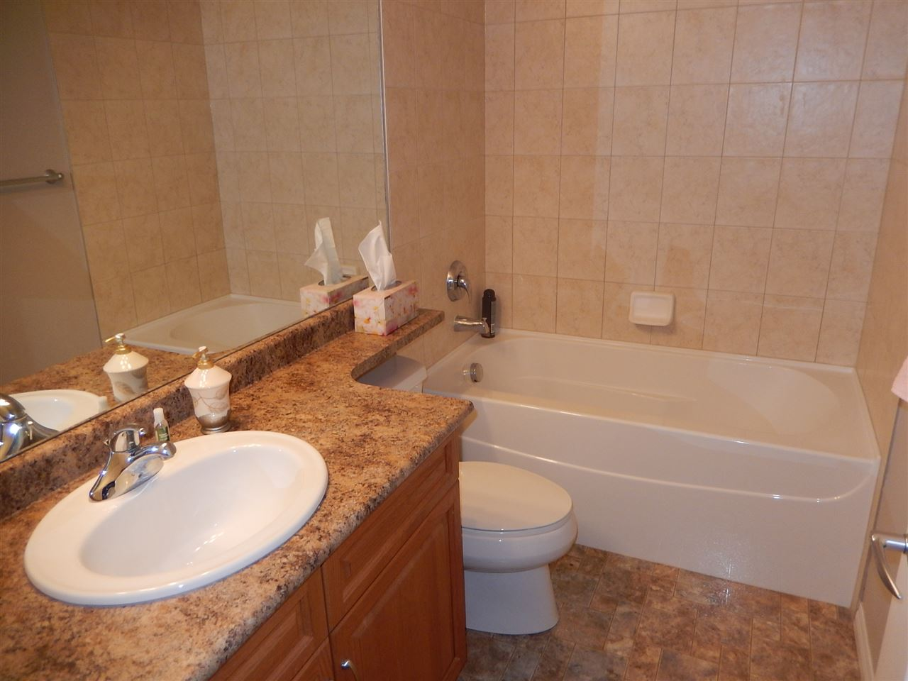 Full bath on the lower level. Great for guests.