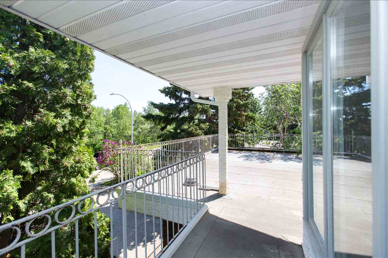 Roof top deck with a great view of the ravine and the stunning yard with in ground saline pool.