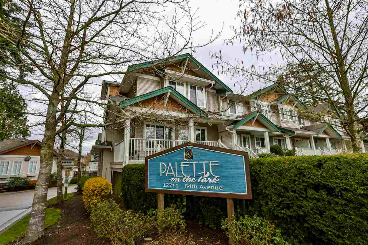 "Main Photo: 1 12711 64 Avenue in Surrey: West Newton Townhouse for sale in ""Palette on the Park"" : MLS®# R2256491"