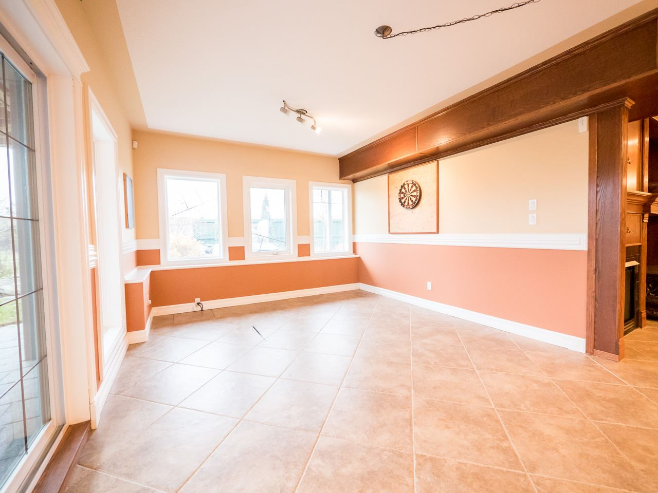 Plenty of space for a night of dancing in this spacious rec room.