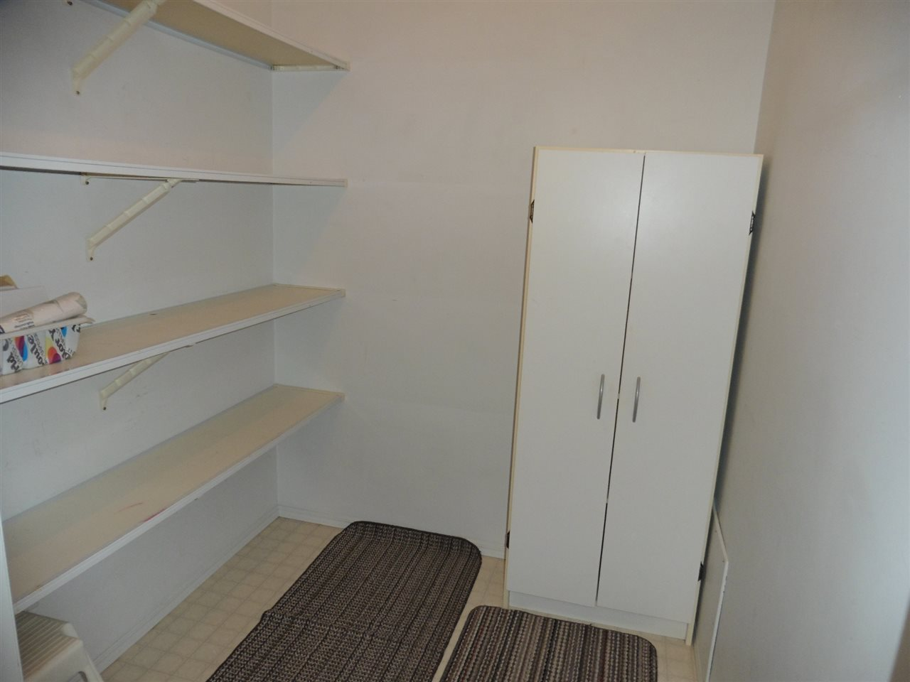Extra shelving and cabinet included in storage room.