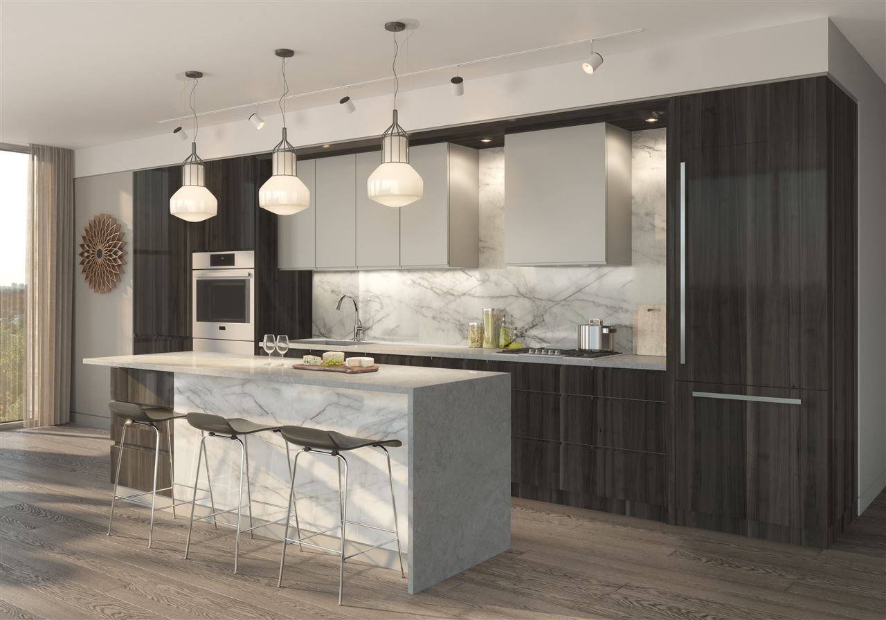 Luxury professional series kitchen features Wolf Subzero appliance package- integrated panel fridge, gas cooktop, dishwasher, wall oven, wine fridge & coffee system, Marble backsplash, quartz waterfall countertops & European design 2 tone cabinets