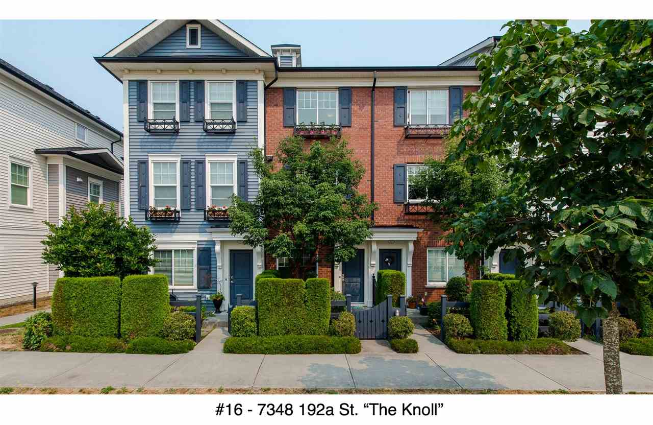 "Main Photo: 16 7348 192A Street in Surrey: Clayton Townhouse for sale in ""The Knoll"" (Cloverdale)  : MLS®# R2195442"