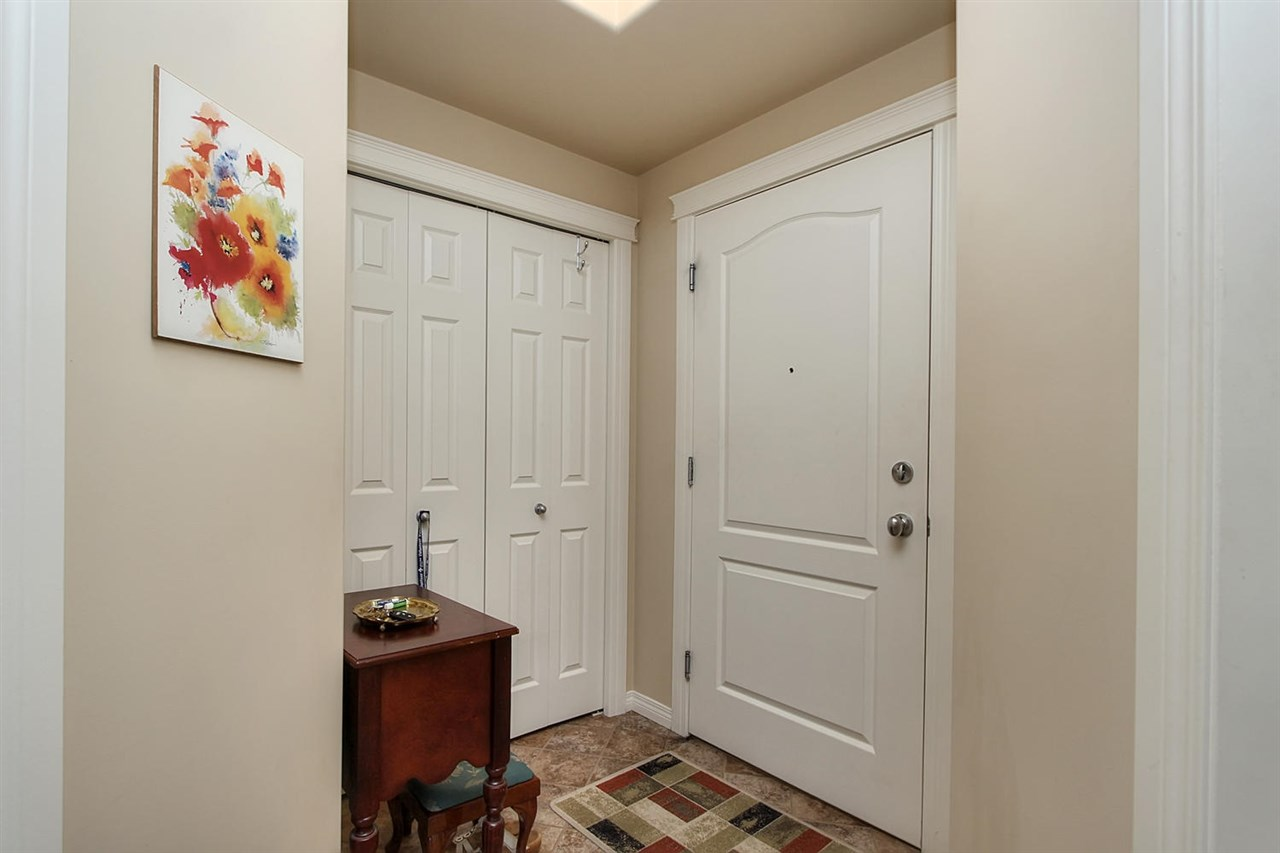 The entranceway into this unit is quite private. The space is generous and there is a good sized closet. You cannot see into the home from the front door.