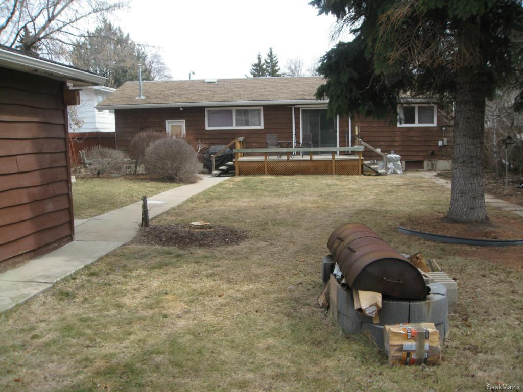 Large backyard with firepit and deck.  Lot is 60 x 150.