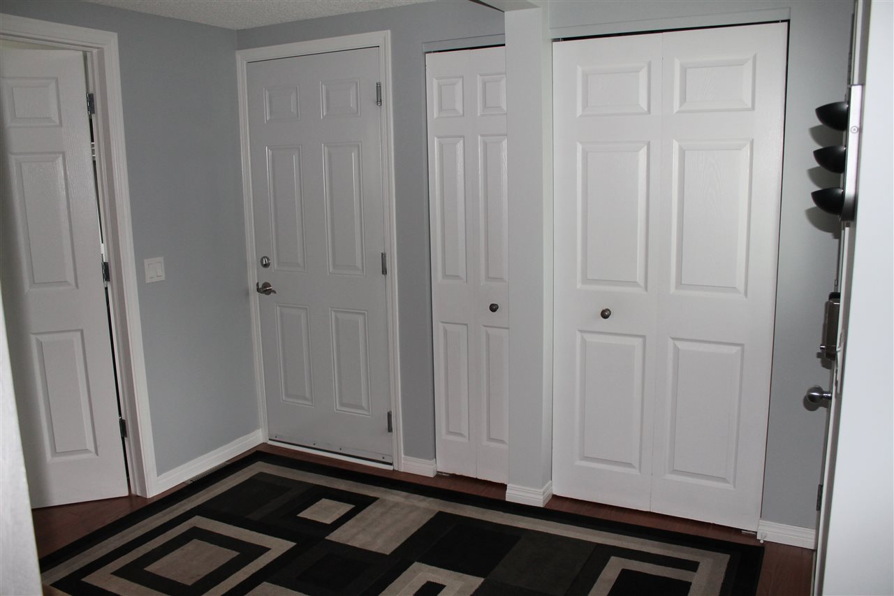 Entrance Into Home From Front Door. Closet For Coats and A Closet For Storage. Door To Garage.