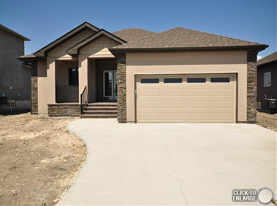 IMPRESSIVE New Custom Built 1687 sf 3 Bedroom Bungalow on piles, AT2 22x24 Garage on 65x118 Lot in Desirable Aspen Lakes Development in Town of Oakbank.