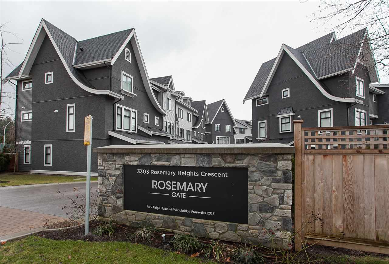 "Main Photo: 11 3303 ROSEMARY HEIGHTS Crescent in Surrey: Morgan Creek Townhouse for sale in ""ROSEMARY GATE"" (South Surrey White Rock)  : MLS® # R2139529"