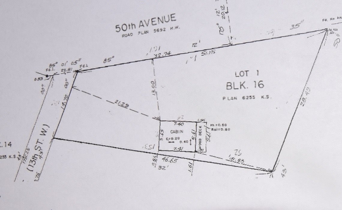 Large pie shaped lot with dimensions as follows, 14.72 meter front x 51.135 meter east, 28.49 meter south x 46.65  meter west