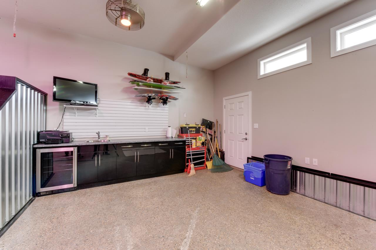 Perfect Man Cave with Epoxy finish Floor with wide Drain, Wine Fridge, Gas Heater, TV Hook-up
