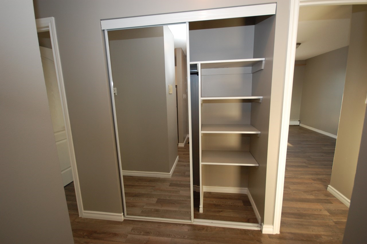 Hallway closet with built-in shelving