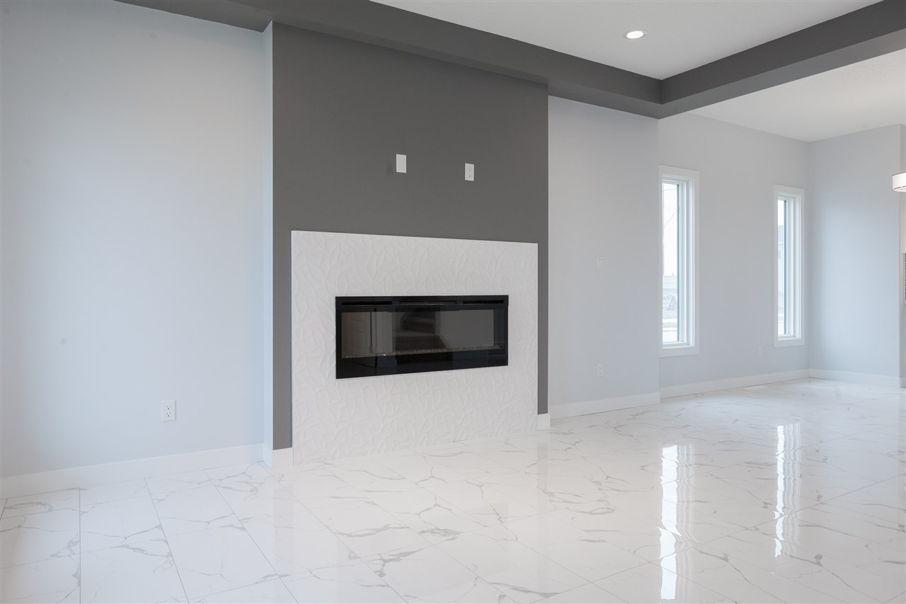 electric fireplace, porcelain flooring