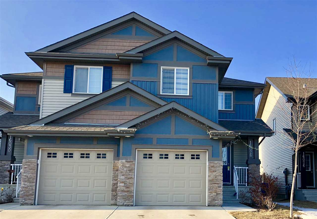 Main Photo: 16028 10 Avenue in Edmonton: Zone 56 House Half Duplex for sale : MLS®# E4094907