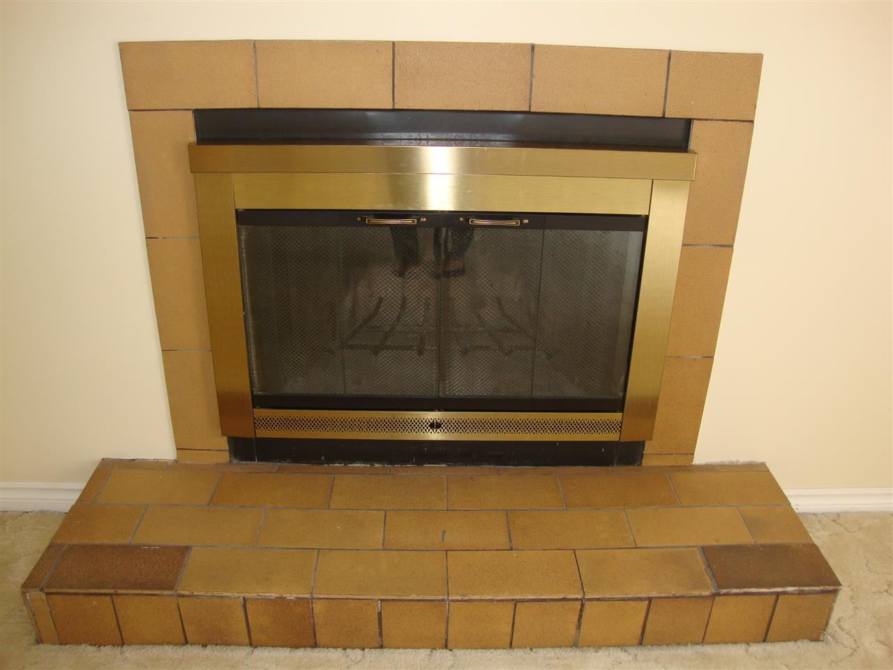 Wood burning fireplace in living room has tile surround and glass door.