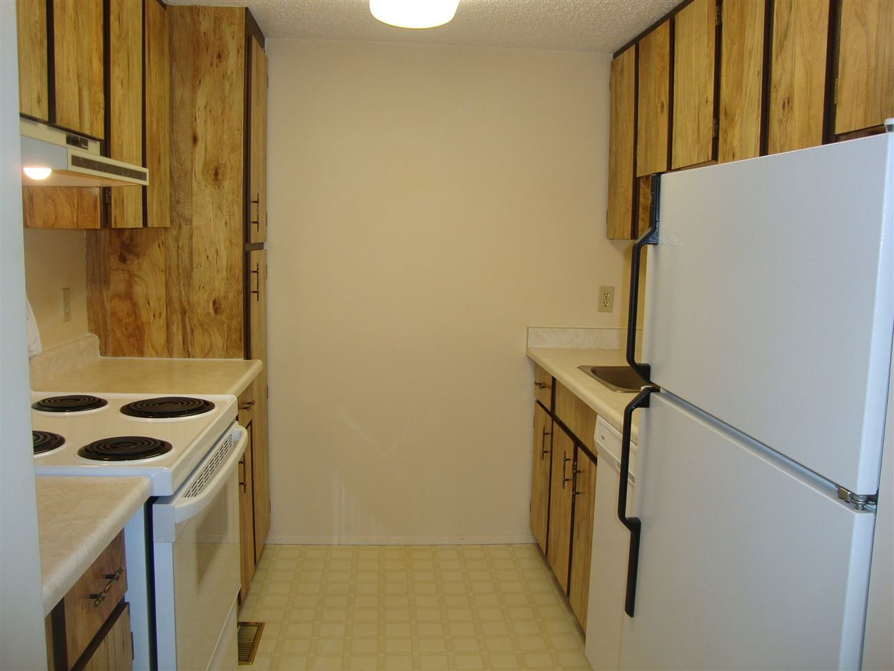 Kitchen comes with fridge, stove and brand new built in dishwasher.