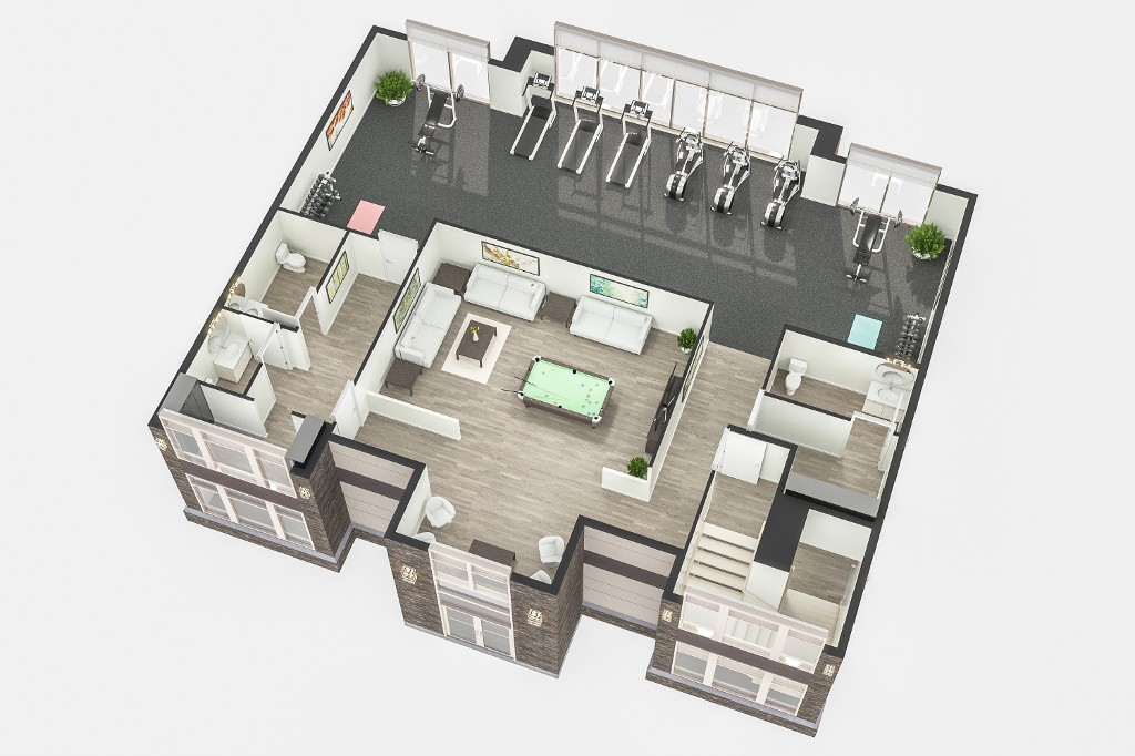 The second floor layout of the clubhouse.