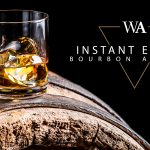 "Rocks glass of bourbon whiskey on top of a barrel with the words ""Instant Expert Bourbon and Rye"" and Whisky Advocate logo."