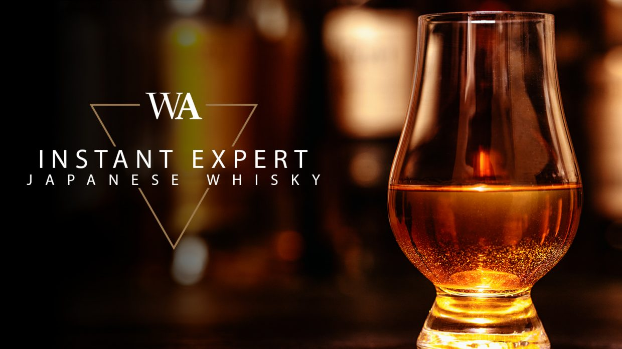 """Glencairn glass of whisky with the words """"Instant Expert Japanese Whisky"""" and Whisky Advocate logo."""