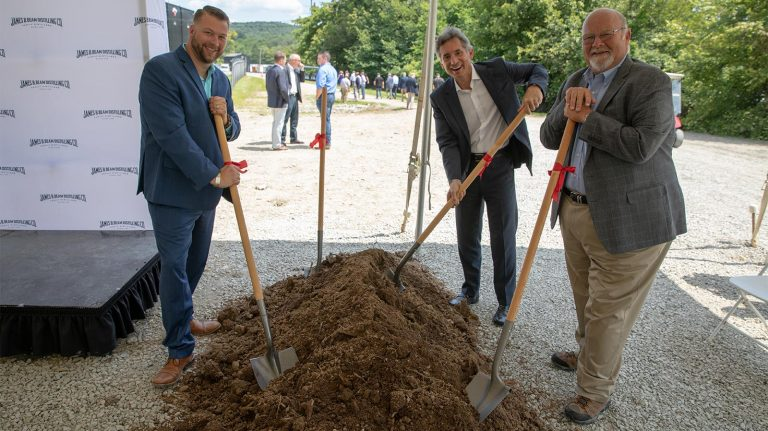freddie noe, albert baladi, and fred noe break ground on jim beam craft distillery