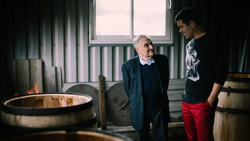 André and Philippe Giraud by some casks