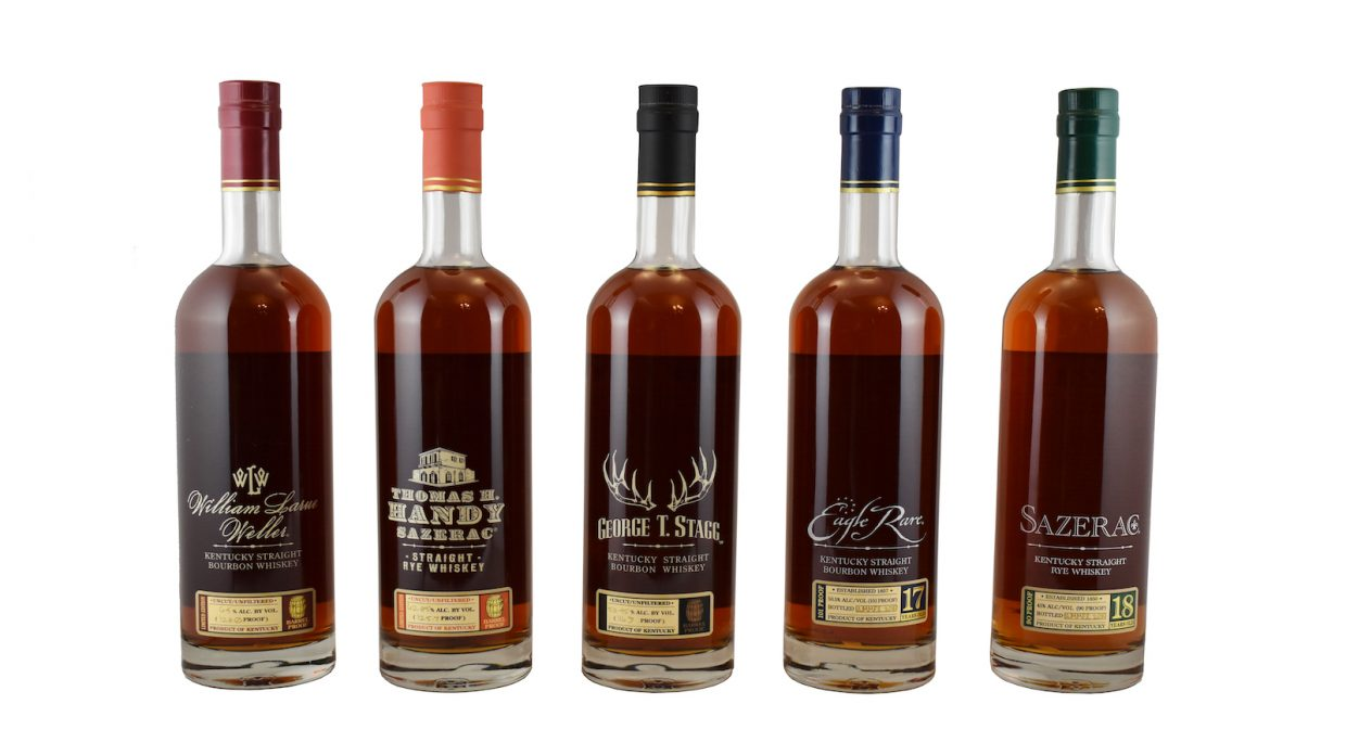 Lineup of bottles in 2019 Buffalo Trace Antique Collection, including George T. Stagg bourbon, William Larue Weller bourbon, Eagle Rare 17 year old bourbon, Thomas H. Handy Sazerac rye, and Sazerac 18 year old rye