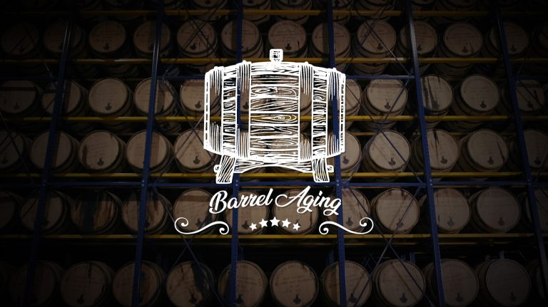 "Racks of bourbon barrels with an illustration of a barrel and the words ""barrel aging"" overlaid"