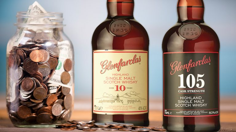 Glenfarclas 10 year old and Glenfarclas 105 scotch next to a jar of coins and dollar bills