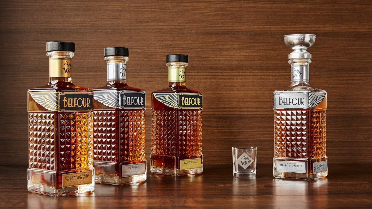 lineup of two bourbon and two rye whiskeys from ed belfour