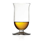 The Riedel Vinum Single Malt whisky glass is shown containing about an ounce of whisky.
