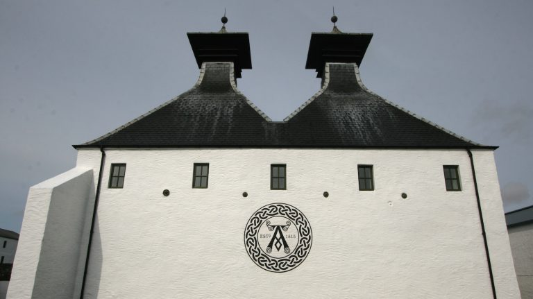 Ardbeg distillery with symbol and twin pagodas