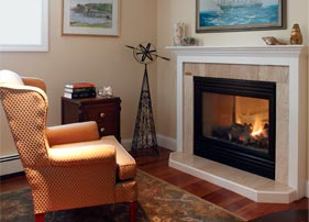 The fireplace in our pet-friendly Newport inn