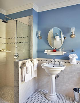 Walk-in shower in the Victorian Room at Cliffside Inn