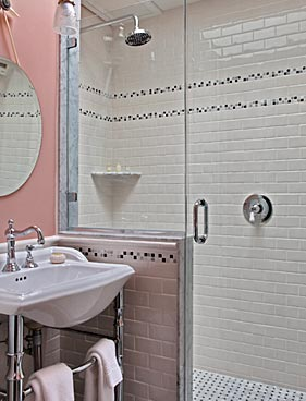 Two-person spa shower in Swann Room at Cliffside Inn