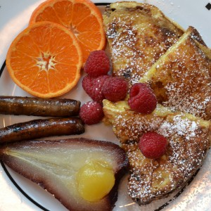 cocoa cottage bed breakfast whitehall michigan Panettone Pain Perdu, Merlot Poached Pear