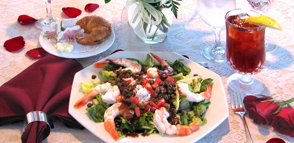 """Blue Lagoon"" shrimp salad"