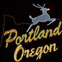 Portland sign with red-nosed deer. Photos by Torsten Kjellstrand/2011