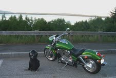 motorcycle by Lake Winnipesaukee