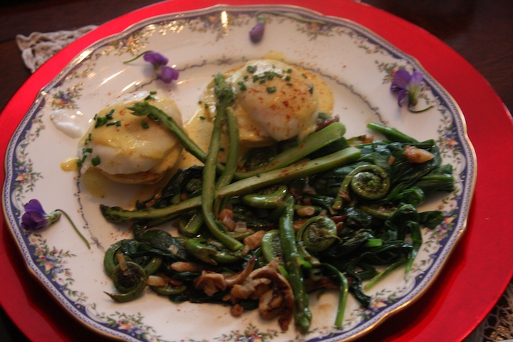 New England's spring delicacy, fiddlehead ferns! Enhanced with local mushrooms and first-of-the season asparagus, topped with poached eggs for great flavor.