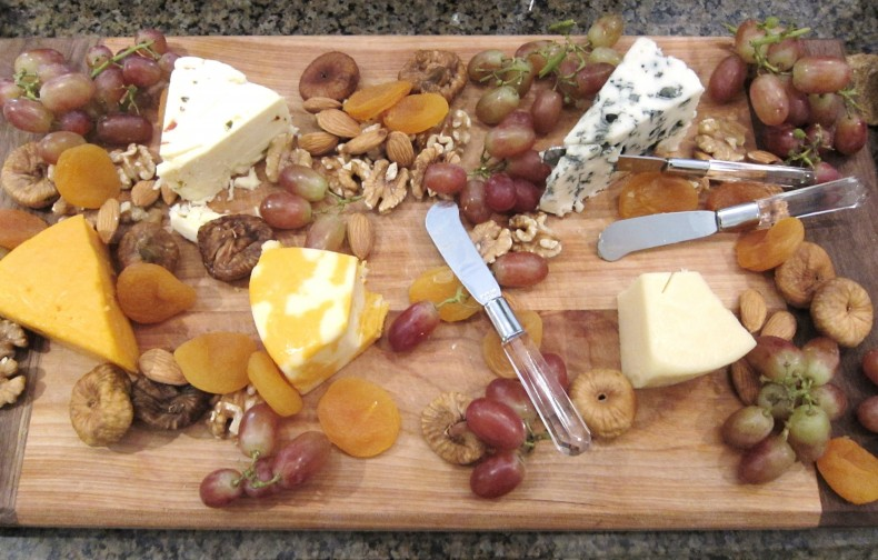 A platter of local cheeses is always quickly devoured at a party, or even a simple family supper.