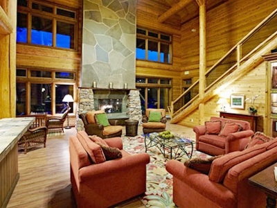 Resort living room in the lodge on san juan island