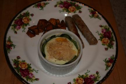 Shirred Eggs Florentine