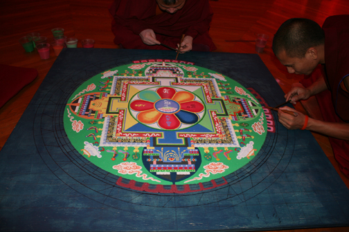 Monks making a mandala at Randolph College